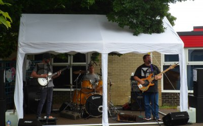 Band in a marquee at school fair
