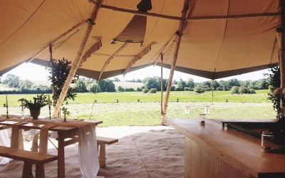 Looking out of the Tipis on a beautiful day