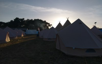 Bell tents and Tipis at dawn