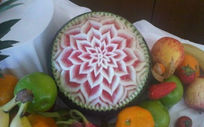 One of our carved watermelons for our fruit displays