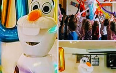 Our Olaf making a surprise visit at a childrens party.
