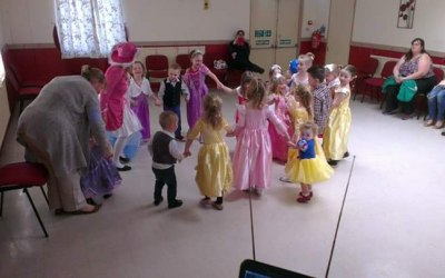 Under 6's disco party, with myself dressed as a lady pirate, dancing with the children