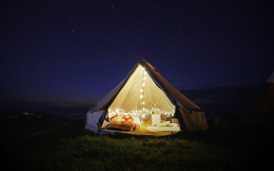 One of our bell tents from a festival village we provided in Pembrokeshire