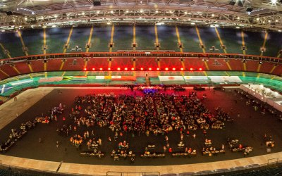 The opening ceremony for the 2016 Golden Oldies World Rugby Festival in the Principality Stadium.