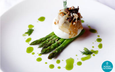 Asparagus with poached egg, dill, morel mushrooms and hazelnuts.