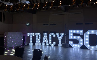 Birthday party with light up letters.