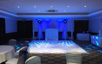 Wedding set up with white dance floor