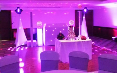 One of my wedding set up's with an awesome FBT Vertus Italian madewhite  sound system.
