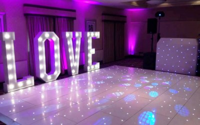 Wedding with LED dance floor and LOVE letters