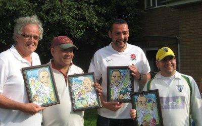 Local cricket teams caricature presentation.