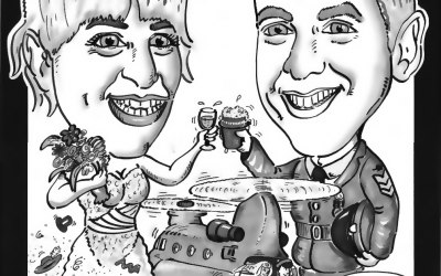 Wedding caricature. The groom was a chinook pilot in the RAF.