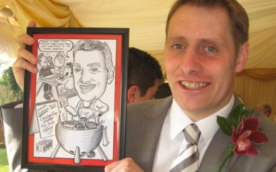 Wedding favour caricature. 1 of 6 I drew and framed.