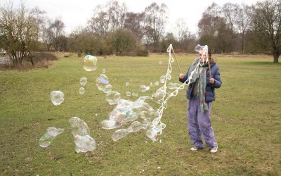 Multiple bubbles are great to chase and pop!  Why not have a bubble party?