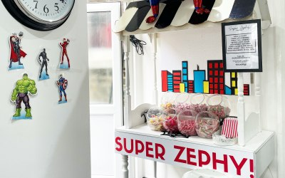 Customised Sweet cart for a Spider-Man Theme 3rd Birthday Party