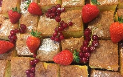 Orange Polenta Cake with Red Fruits