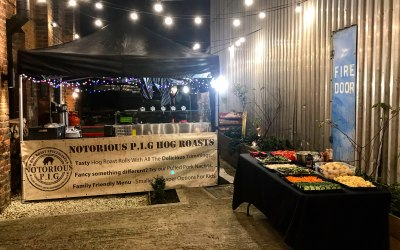 Hog roast set up - Private christmas party at Gloucester Brewery