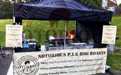 Hog roast set up at a music festival.
