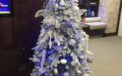 A Beautiful White and Silver Christmas Tree For Galliard Homes Ltd