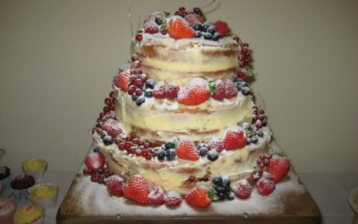 A naked wedding cake we did