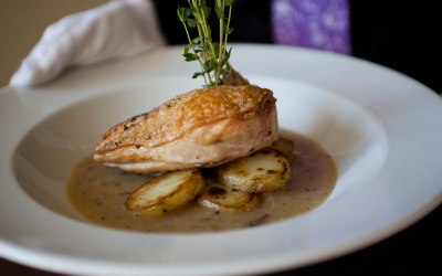 Roasted Chicken Breast on Roasted New Potatoes