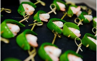 Prawns wrapped in Mange Tout Canape