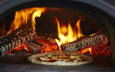 Fire and pizza