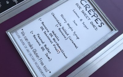 Menu board for sweet crepes at events