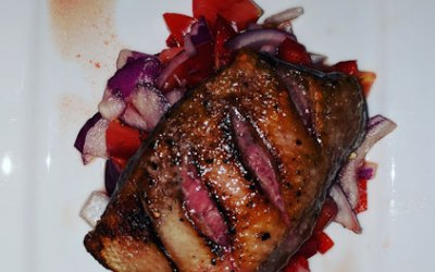 DUCK WITH RED ONIONS AND PEPPERS
