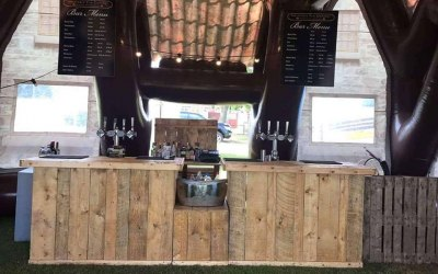 Rustic Wooden Bar with fridges/draught taps inside Pub