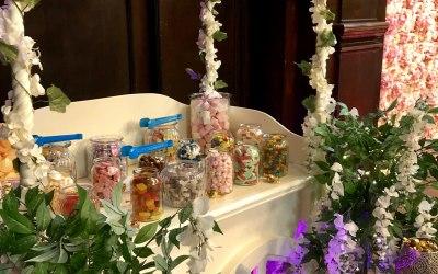 Floral wedding sweet cart