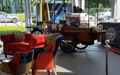 Popup cafe at Audi showroom