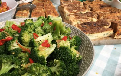 Homemade Quiche and Broccoli Salad with Garlic and Chilli Dressing