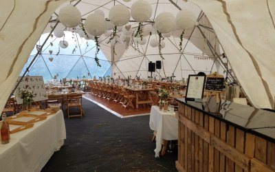 Our bar in a truly fabulous geodome