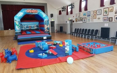 Super Hero Bouncy Castle & Soft Play Package