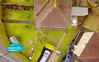 A customer's house, we checked out the roof tiles for them and they got the aerial view to help plan their garden for a makeover.