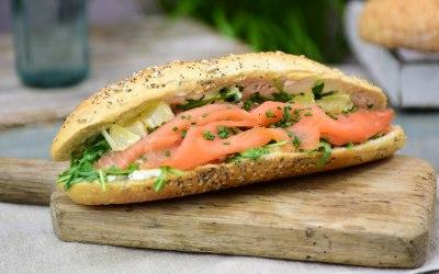 Smoked Salmon, Cream Cheese & Fresh Dill Sandwich