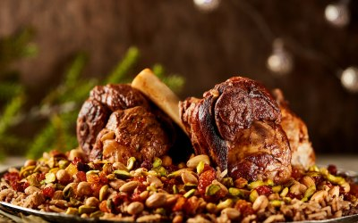 Lamb shank with oriental rice & nuts