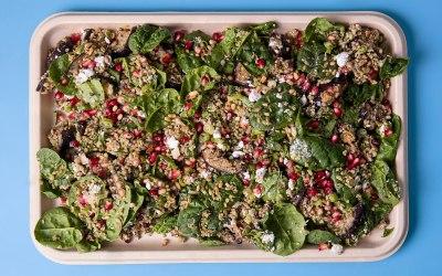 Freekeh-aubergine salad