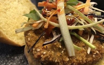 Thai flavoured veg burger with Asian slaw