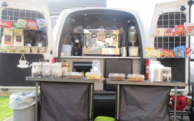 Demonstrating how The caddy Cafe looks when ready to serve at an event. Snacks can be changed for products for your event.