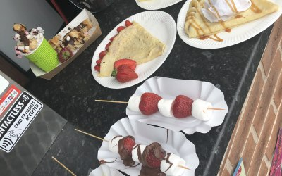 Fruit kebabs and crepes