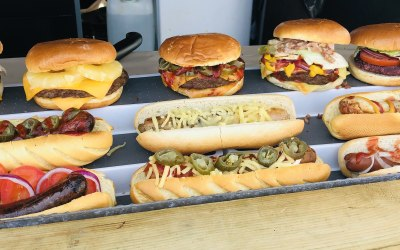 Variety of burgers and street dogs