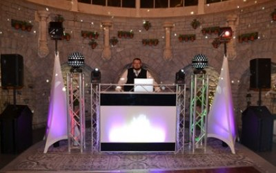Chic & Elegant Disco set up. Photo taken in The Orangery at De Vere Tortworth Court Hotel, Wotton-under-Edge
