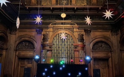Our Lights & Lasers set up in the beautiful surroundings of Westonbirt School at Tetbury.