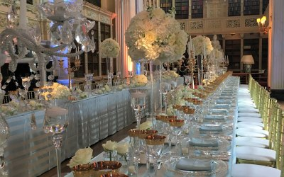 An elegant wedding breakfast setting at Blenheim Palace, Oxford.