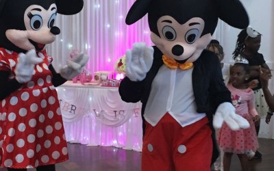 Mickey and Minnie Mascots visit a child's birthday party