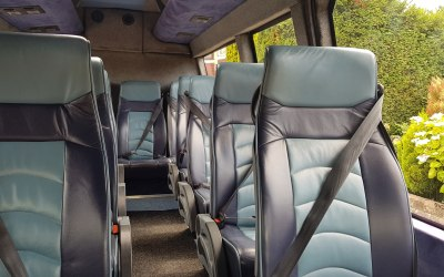 16 seater Renault Master minicoach, leather seats and air-con
