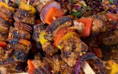 Suya chicken kebabs