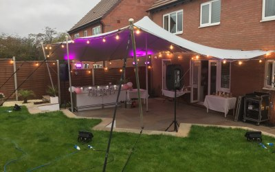 8m x 6m Stretch tent connect to house for 30th B'day
