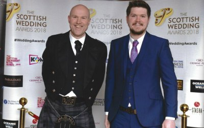 Father and son at the finals of the scottish wedding awards
